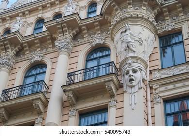 Art Nouveau architecture on a building facade in Riga, Latvia