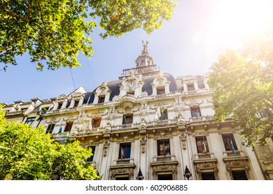 Art nouveau classical architecture building on a sunny day in Buenos Aires, Argentina. Special sun and lens flare effect