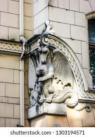 Art Nouveau Dragon on a Building in Riga, Latvia