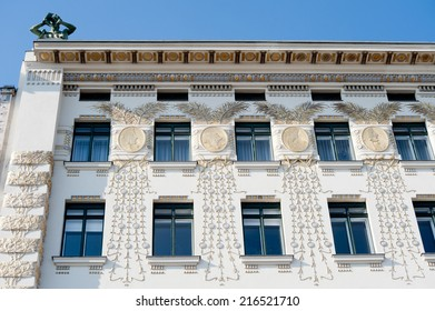 Art nouveau, or Jugendstil, decoration on an Otto Wagner apartment block, built in 1899, Wienzeile, Vienna.