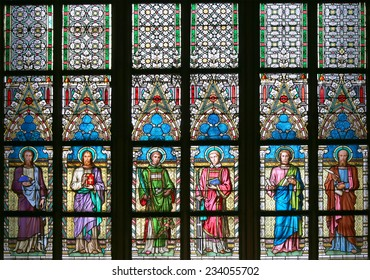 Art Nouveau painter Alfons Mucha Stained Glass window in St. Vitus Cathedral, Prague, Czech Republic