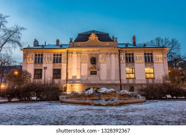 Art nouveau Palace of Arts in Krakow, Poland, winter night