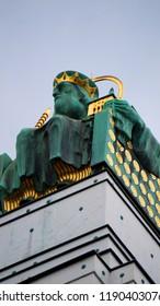 art nouveau sculpture, Otto Wagner church, Kirche am Steinhof, also called the Church of St. Leopold of the Steinhof Psychiatric Hospital in Vienna, Austria