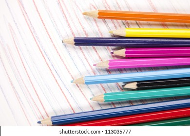 Art and office supplies isolated on white background with notebook