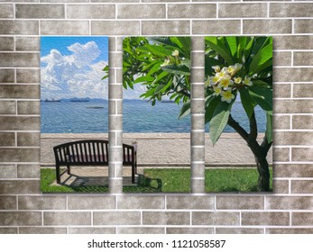 Art oil paint photo frame on brown brick wall