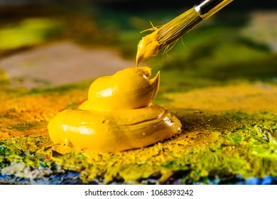 Art oil paints shot close-up