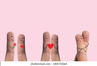Art on the finger, 3 status of happiness couple. Isolate on pink background, Love concept, Valentine concept.