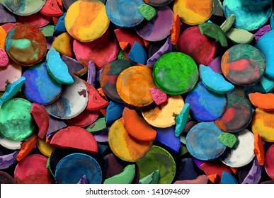 Art paint concept background as a group of old used water color pucks as an arts and crafts school and creative education idea for children and students to discover and express their creativity.