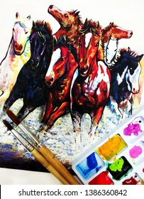 Art  painting  Acrylic color Running horse
