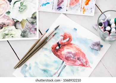 art painting. inspiration and creativity concept. picture of a flamingo. drawing of bird. artist creations and self expression