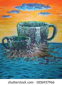 Art painting island cup on summer colors