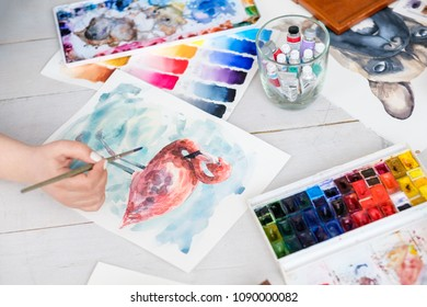 art painting skills. color swatches and beautiful watercolor drawing of flamingo. works of a gifted painter.