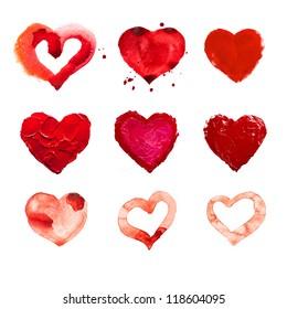 art paints, hearts, love