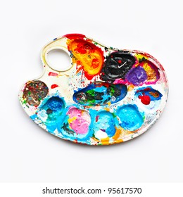 Art palette with blobs of paint