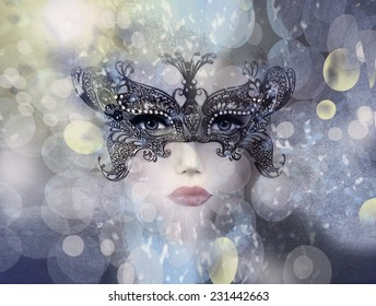 Art photo of Beautiful woman in mysterious mask.