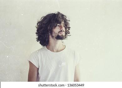 art photo of handsome man, vintage style