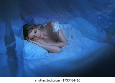 art photo sleeping beauty. blond woman lying in vintage white bed. girl sleep eyes closed sweet dream lullaby music. Shiny stars in dark retro room. princess in nightgown. Mystical miracle Night magic