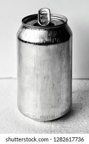 Art photograph of aluminium soda can