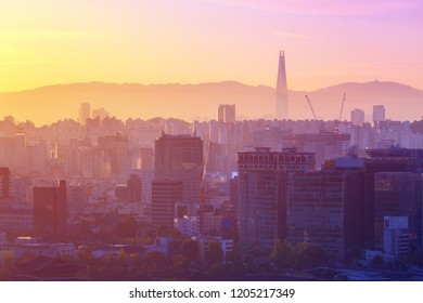 Art photograpy. Seoul,South Korea sunset and downtown background.