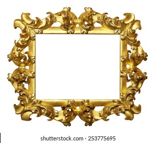 art picture frame golden  isolated on white background