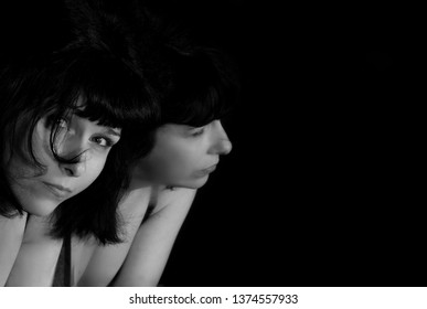 Art picture of woman with the mirror