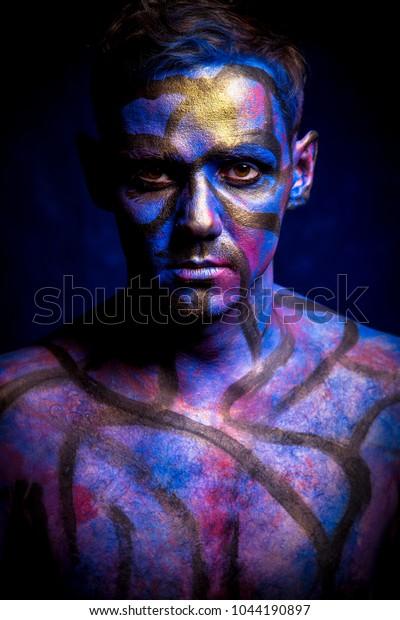 Art Portrain Man Unusual Make Paint Stock Photo (Edit Now