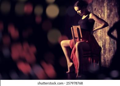 Art portrait of a beautiful Spanish girl. Latin dances.