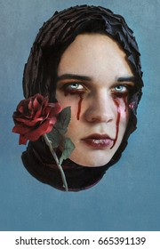 Art portrait, boy with makeup crying blood tears with a red rose