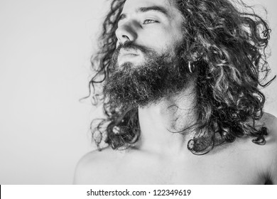 art portrait of handsome man, desaturated