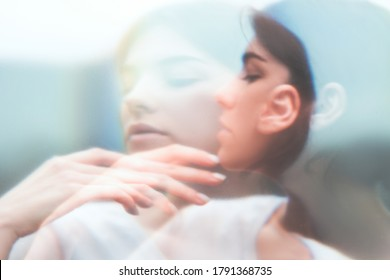 Art portrait. Inner peace. Surreal sensual woman face blur silhouette double exposure. Feminine fragility. Soul freedom. Sensitive mindfulness. Nostalgic dream. Subconscious melancholy.