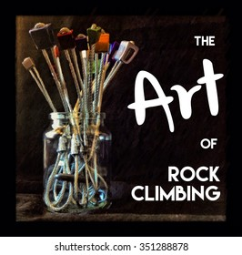 The Art of Rock Climbing text climbing nuts arrangement fun abstract illustration