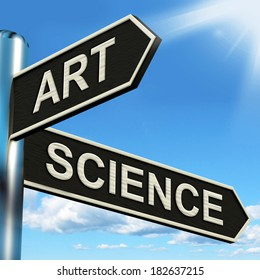 Art Science Signpost Showing Creating Or Formulas