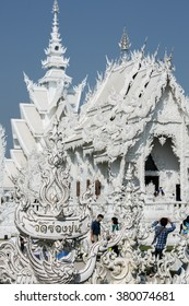 The art in the style of a Buddhist temple at Chiang Rai, Wat Rong Khun, White Temple, Thailand on February 12, 2016
