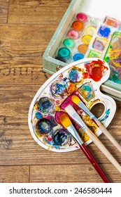 art supplies, brushes and colors