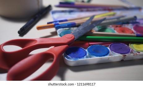 Art Supplies Classroom Teacher Arts Crafts Stock Photo Edit Now