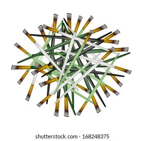 Art Supply, Stack of Craft Paintbrush or Artist Brushes for Draw and Paint A Picture Isolated on White Background