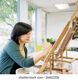 Art teacher painting