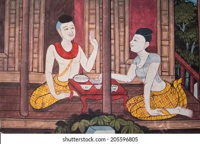 "Art thai painting on wall in temple ""wat ph ra kaeo"" Bangkok Thailand Living in Thai"