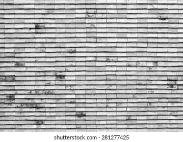 Art tile roof at Thai temple, monochrome, white and black color for background