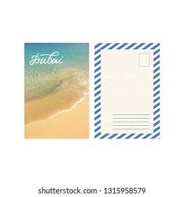 Art travel postcard, beach in Dubai