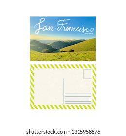 Art travel postcard, hills in San Francisco