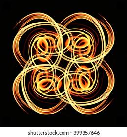 Art of twirl fire on black background