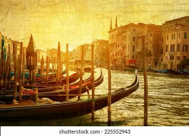 art Venice, Italy. Gondolas on Grand Canal, Italian Canal Grande