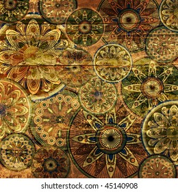 art vintage stylized floral pattern on wood background in old gold, brown and green colors