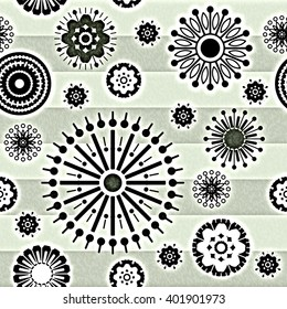 art vintage stylized geometric flowers seamless pattern, monochrome background with light green, black and white colors