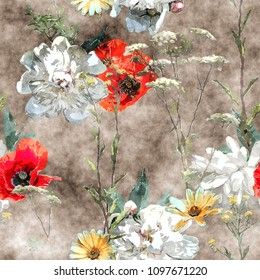 art vintage watercolor colorful floral seamless pattern with white and red poppies, peonies, asters, leaves and grasses on dark background