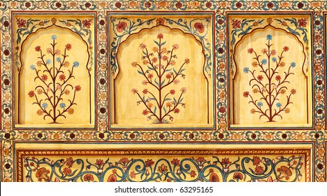 Art work in Amber Fort near Jaipur city in India. Rajasthan
