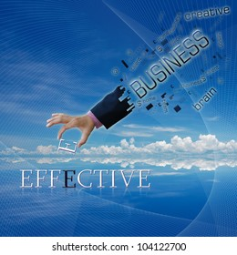 art work of business hand with the business word with modern background.