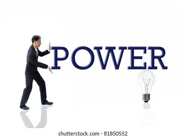 art work of business idea with businessman with wording.
