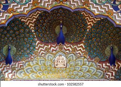 Art work in City Palace. Jaipur, Rajasthan, India